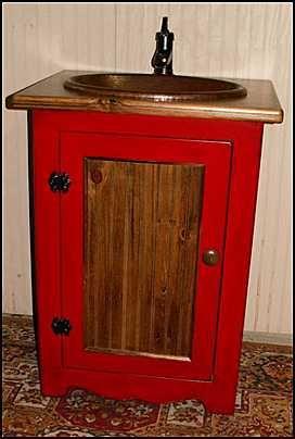 Red Vanity With Wood Panel Rustic Bathroom Vanities Bathroom