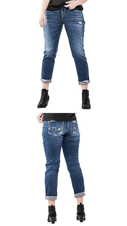 42722bf5 Silver Jeans Women's Plus Size Sam Mid Rise Boyfriend Jeans, Medium Repair  Stitch, 22