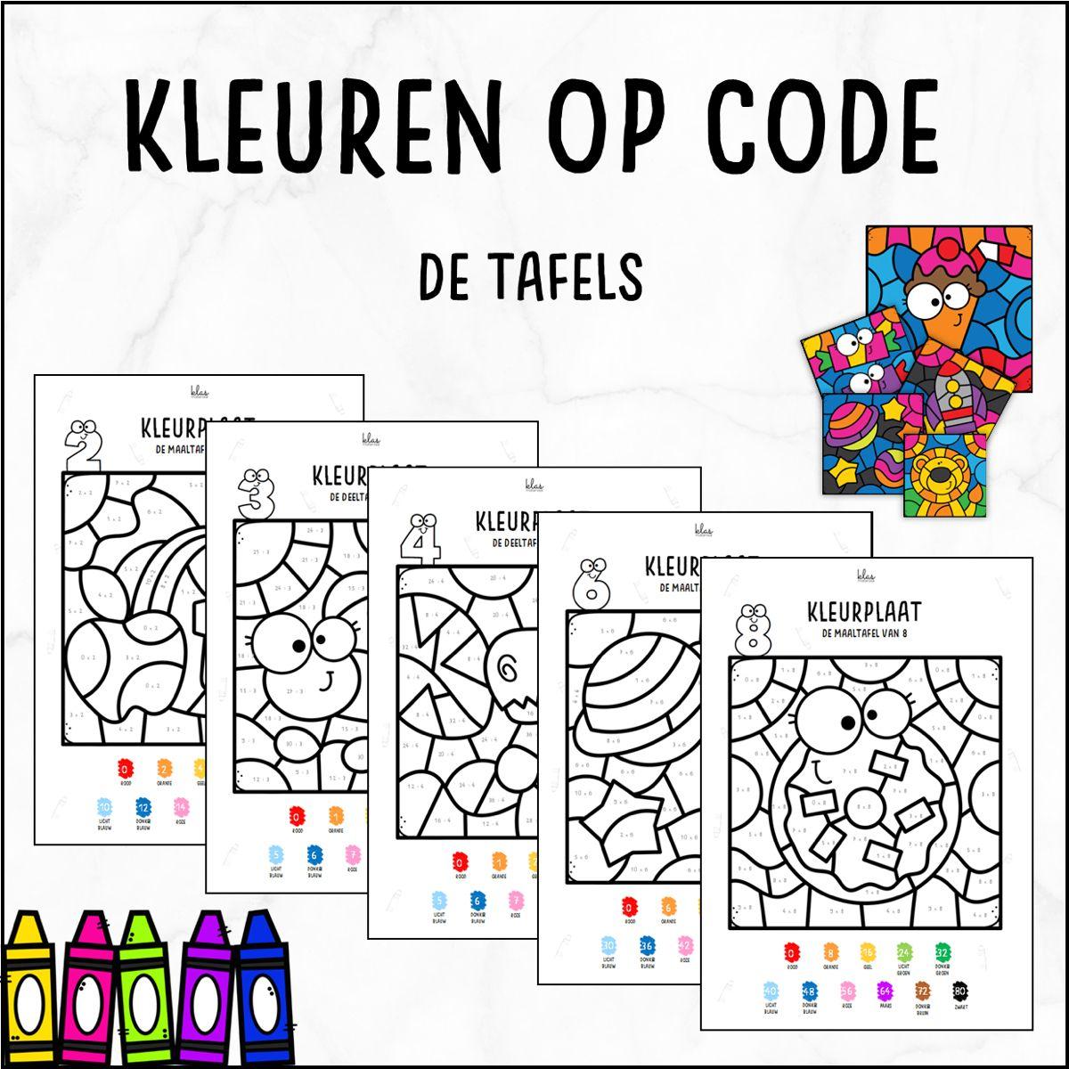 Kleuren Op Code De Tafels Tafel Kleurplaat Tafels Tafels Oefenen