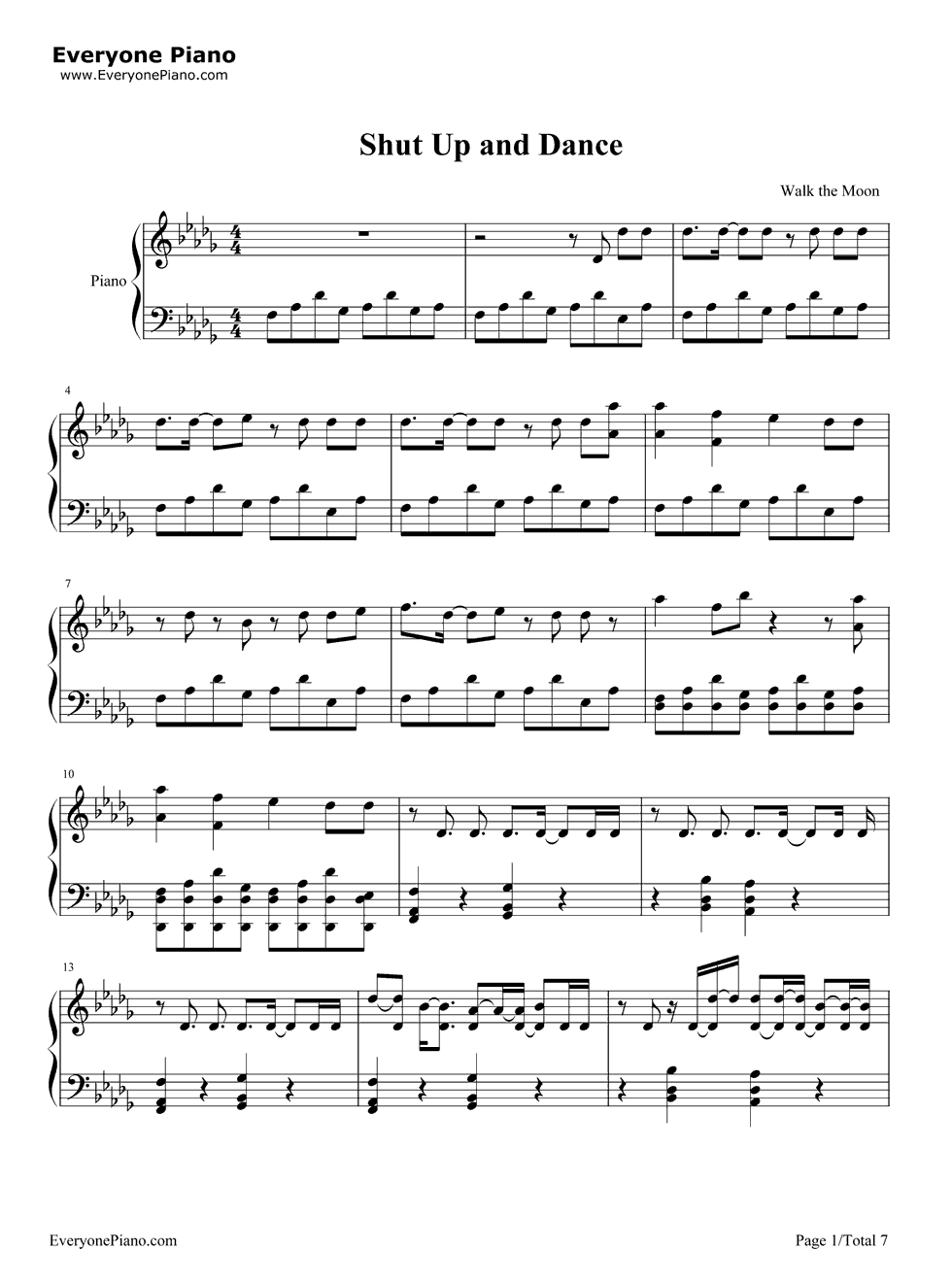 Shut up and dance walk the moon stave preview 1 sheet music free shut up and dance piano sheet music is provided for you shut up and dance is a song recorded by american alternative rock band walk the moon for their hexwebz Image collections