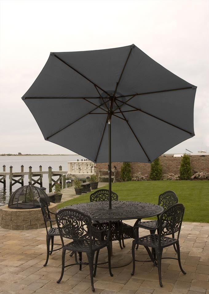 084ccd6c5479 Bliss Hammocks Outdoor Ornate Patio Table and Chairs Boat Dock Black ...