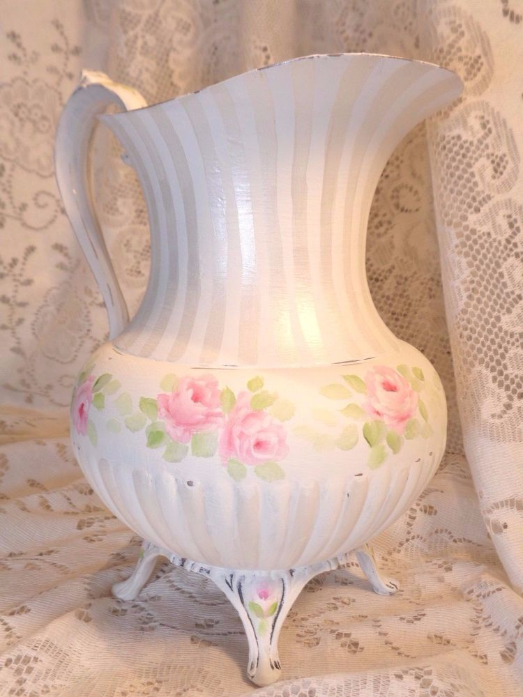 PEARL & WHITE ROSE SILVER PLATE VASE hp chic shabby vintage cottage hand painted #ShabbyChic