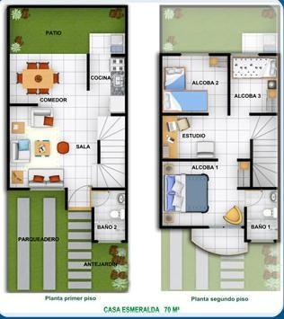 planos de casas de 2 pisos de interes social