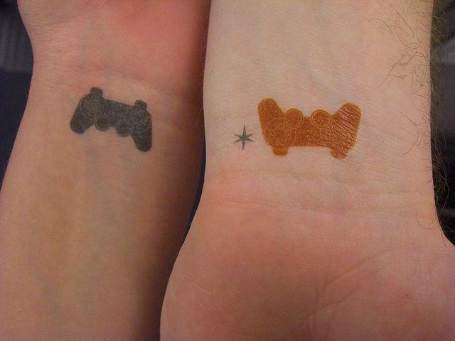 Matching Video Game Controller Tattoos Inkedweddingscom Tats
