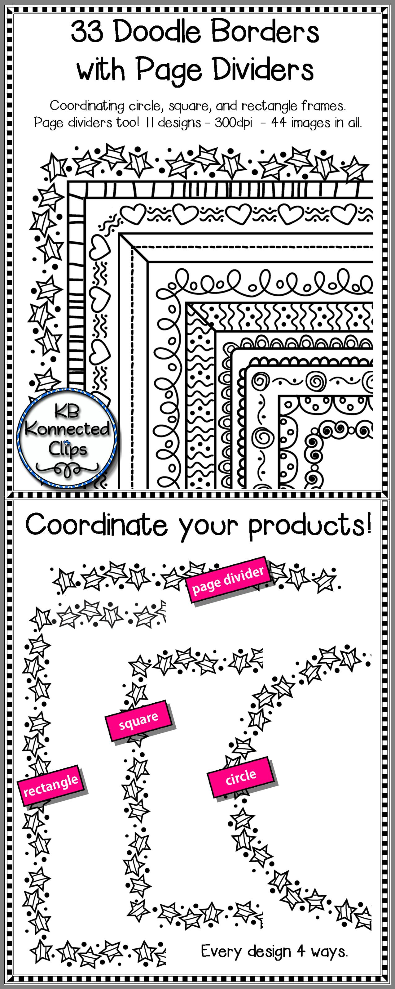 black line doodle frames with coordinating page dividers doodle