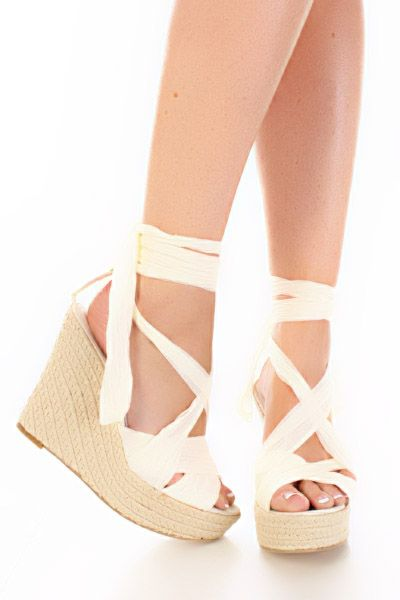 Beige Chiffon Lace Up Open Toe Espadrille Wedge Heels / Sexy ...