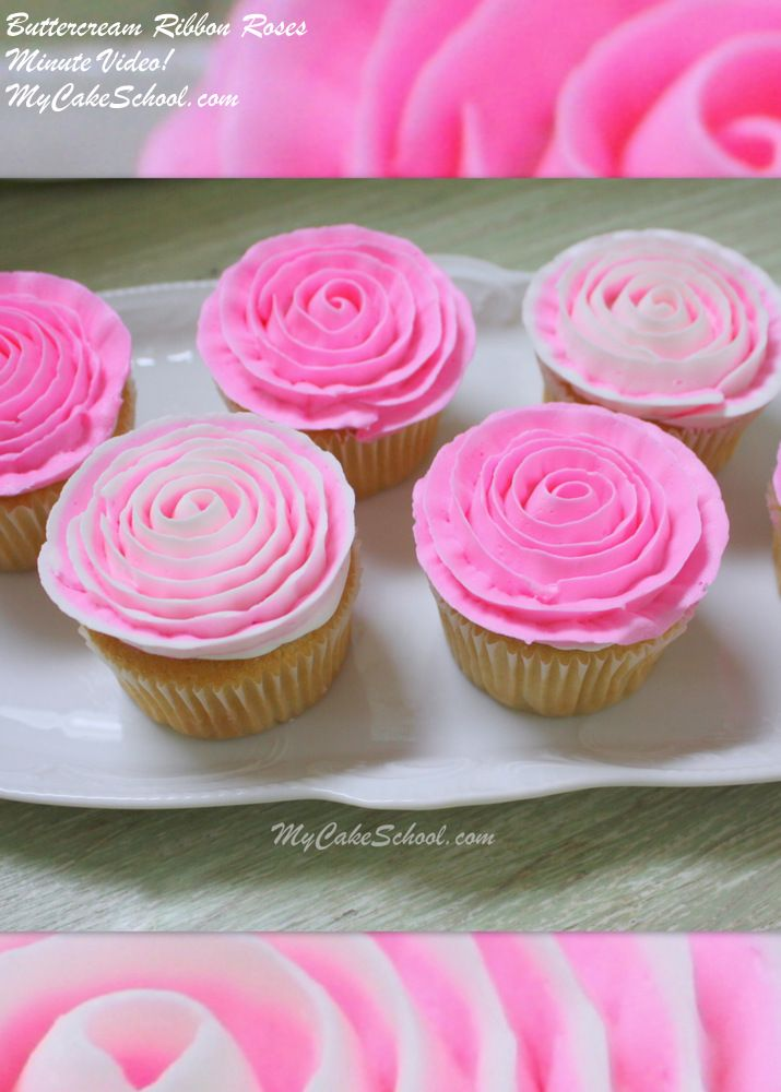 Buttercream Ribbon Roses~ Cupcake Video! #cakedecoratingvideos