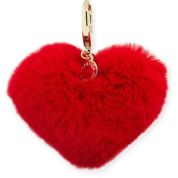 Rebecca Minkoff Heart Rabbit-Fur Pompom Bag Charm (€45) ❤ liked on Polyvore featuring accessories, dark red and rebecca minkoff