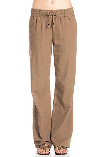 poplooks womens comfy drawstring linen pants long dark brown mocha