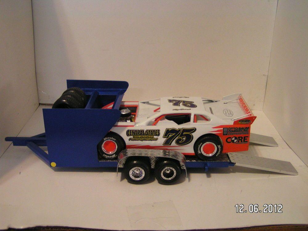 1/24 Blue Custom Modified Dirt Late Model Race Car Hauler Trailer ...