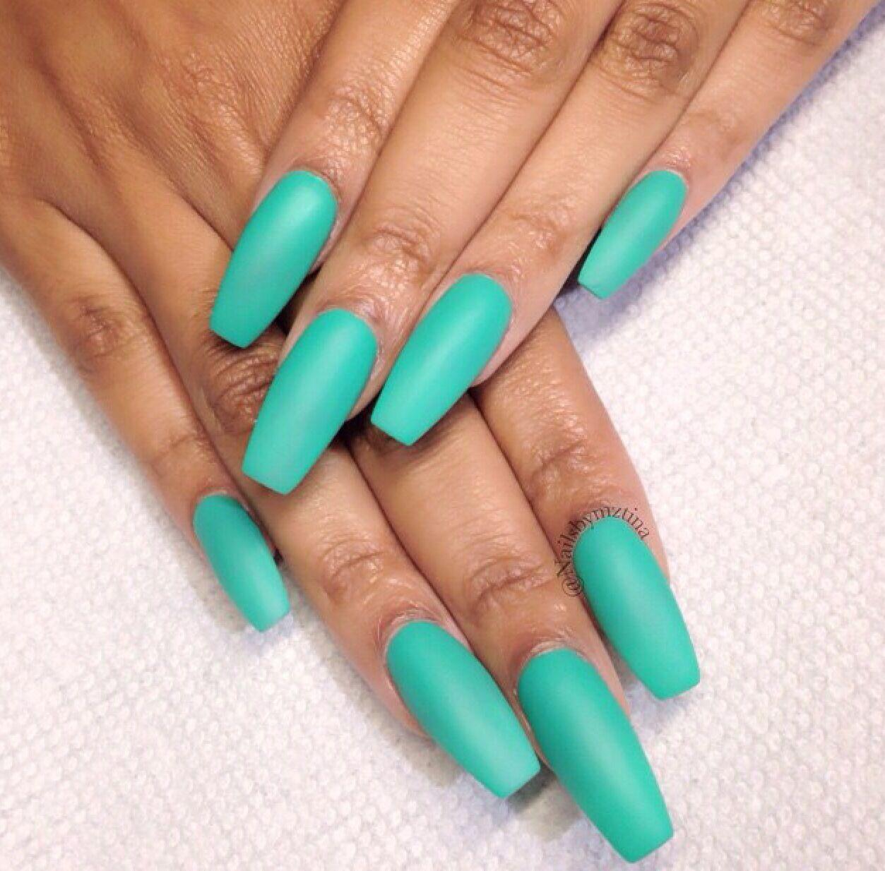 long teal matte nails