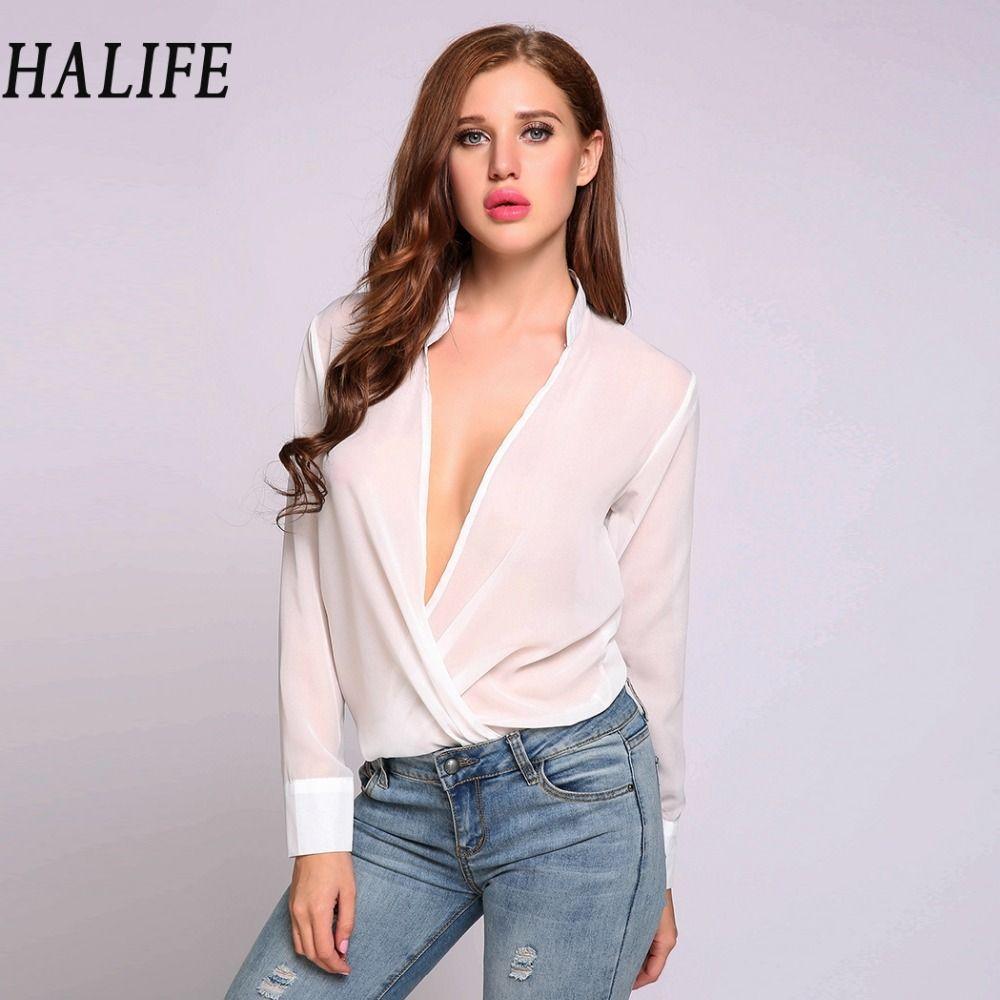 HALIFE 2017 Fashion Summer Sexy See Through Chiffon Blouse Women Tops Front  Open Female Elegant White