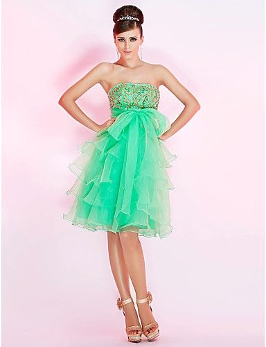 A-line Beaded Strapless Multi-tiered Organza Skirt Sweet 16 / Short Prom Dresses PD100560012