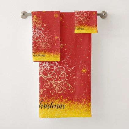 Shimmering Christmas Tree Design Towel Set Home Gifts Ideas - Rose bath rug for bathroom decorating ideas