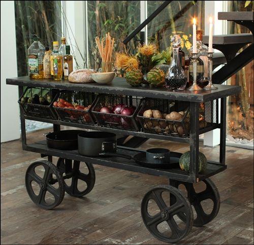 Kitchen Trolley Cart Metal Top Rustic Kitchen Island Vintage Industrial Kitchen Industrial Decor Kitchen