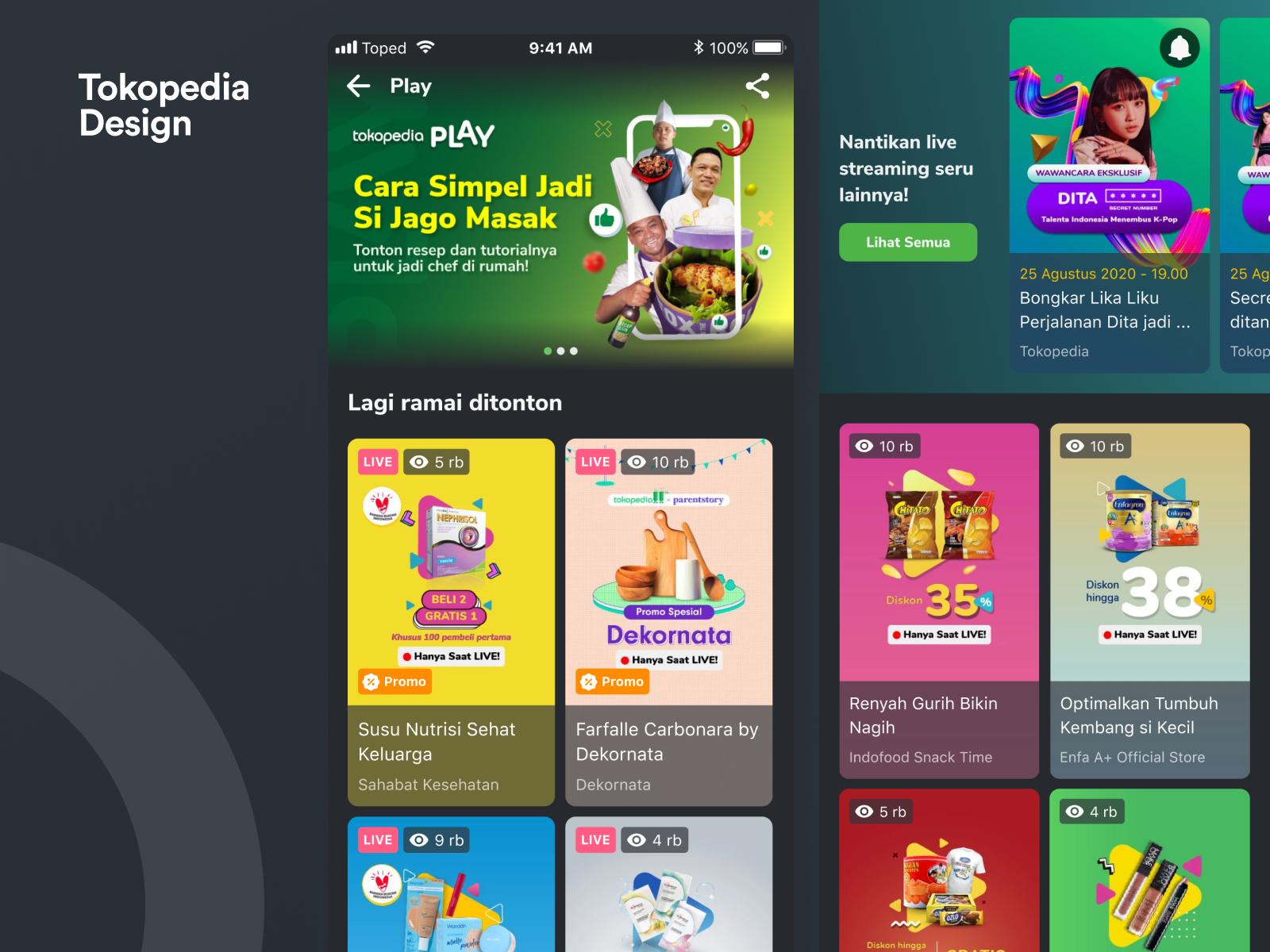 Tokopedia Play Channel List V2 Directory Design Design Jobs Ux Web Design