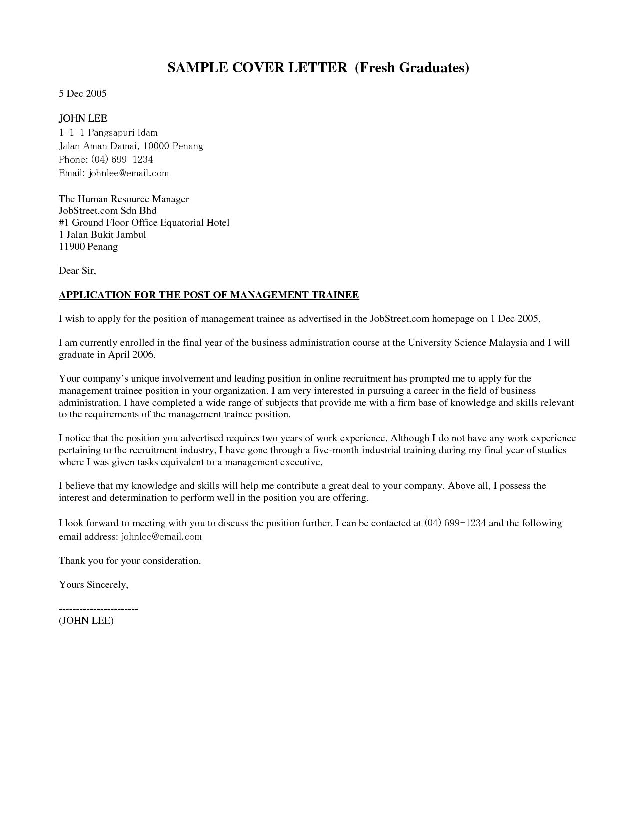 Application Letter For Fresh Graduate Marketing Resume