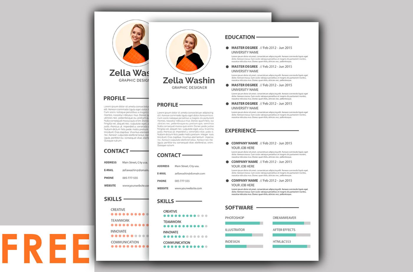 PSD Free Resume Templates 2020 in 2020 Resume template