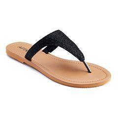Glitter flip flops, Black shoes sandals