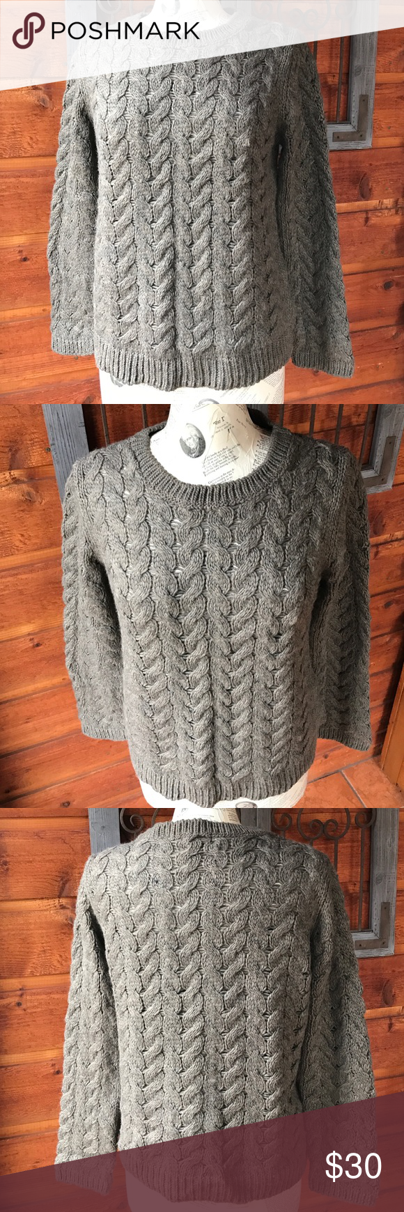 H&M gray cable knit sweater size large H and M gray cable knit ...