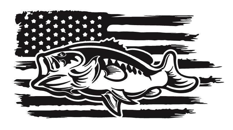 Bass Patriotic American Flag Fishing Vinyl Sticker Decal