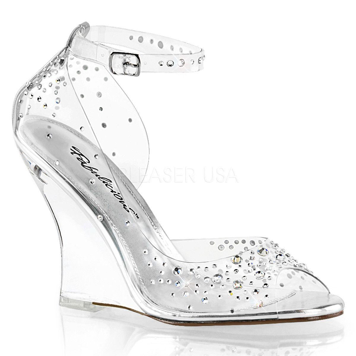Fabulicious LOVELY-406 Womens Clear Wrap Around Wedge Sandal Bridal High Heels