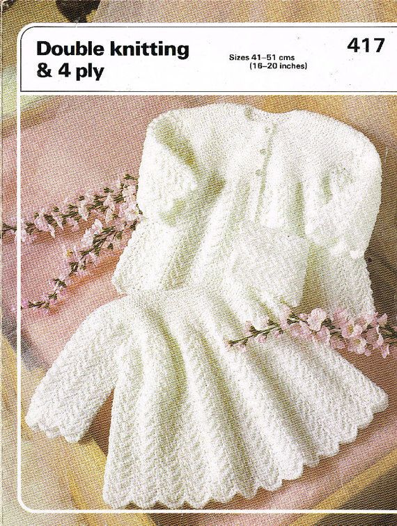 d280f76c6 Double Knitting 470 baby matinee dress and coat set vintage knitting ...