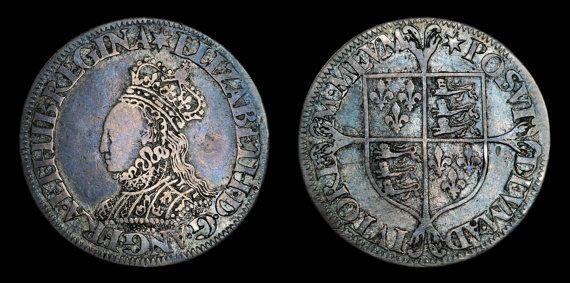 Tudor English Antique Coin Genuine Elizabeth I Silver Milled Shilling 1560 - 1566, British, Elizabethan