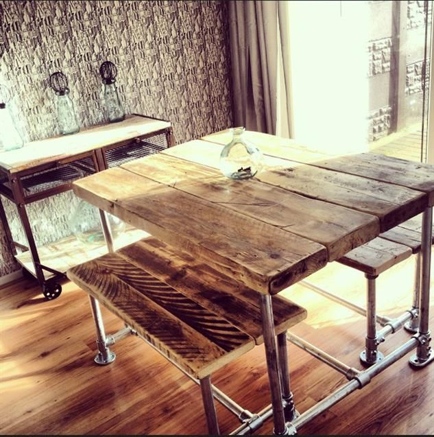 Industrial Style Small Scaffold Dining Table Benches