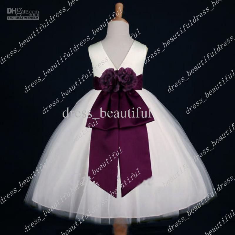 a129227bb IVORY/PLUM EGGPLANT FLOWER GIRL DRESS from DHgate.com,get worldwide  delivery and buyer protection service.
