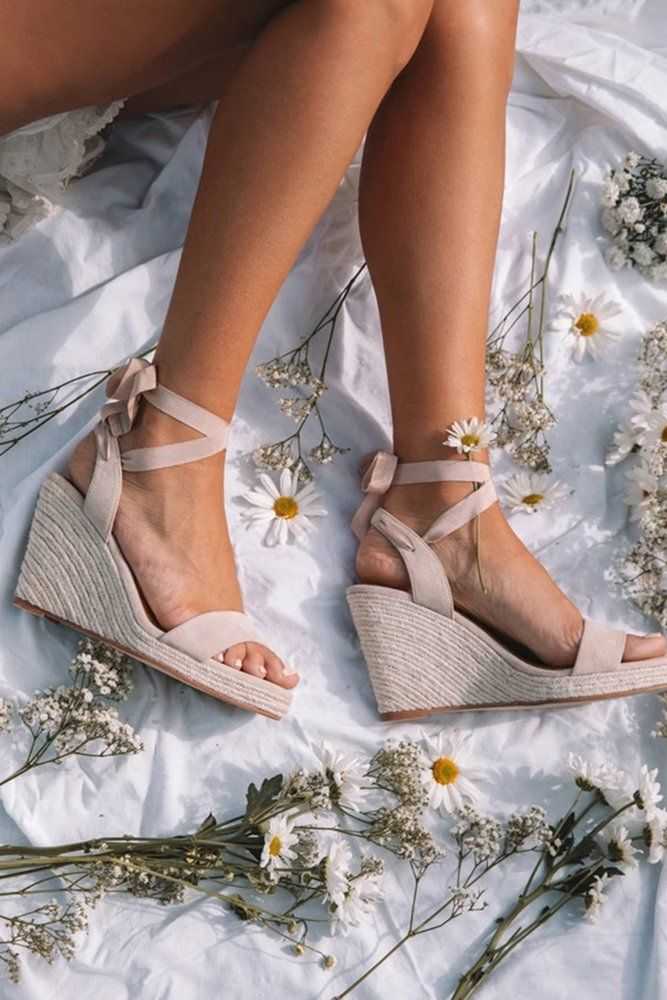 30 Wedge Wedding Shoes To Walk On Cloud is part of Beach wedding shoes, Bohemian wedding shoes, Wedge wedding shoes, Lace up espadrille wedges, Boho wedding shoes, Fun wedding shoes - From elegant wedge wedding shoes to sandal wedges, in these beautiful shoes you will floating on cloud from the morning to the unforgetable last dance