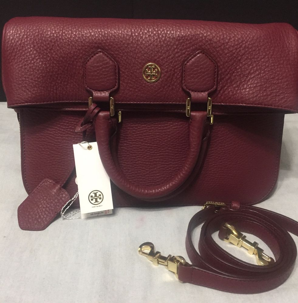c99bf877ae8 Tory Burch Robinson Pebbled Fold-Over Messenger Shoulder Handbag ...