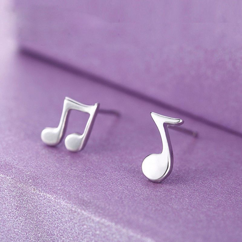 925 Sterling Silver Tiny Music Note Symbol Earrings Pair Studs In Gift Bag Box