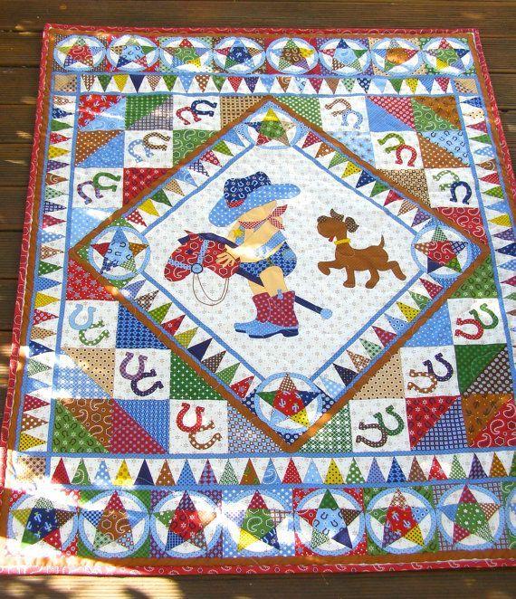 Cowboy Quilt, baby boy quilt, vintage baby quilt, baby boy cot ... : cowboy quilt - Adamdwight.com