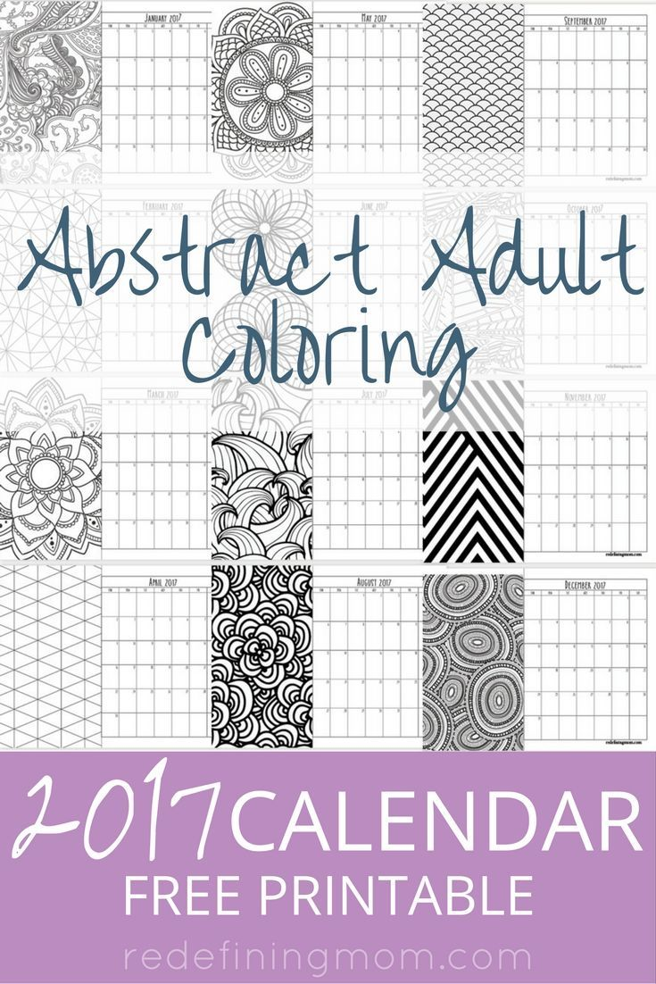 Free coloring pages abstract - Abstract Adult Coloring 2017 Calendar Free Printable