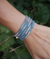 Tiny Blue mix wrap bracelet Boho bracelet Bohemian by G2Fdesign  Tiny Blue mix wrap bracelet Boho bracelet Bohemian by G2Fdesign