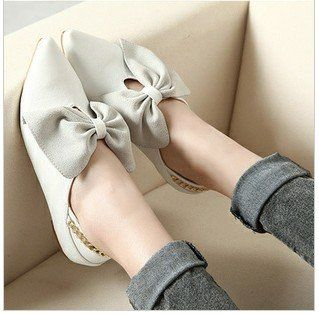 ! Leather Pointed Toe Bowtie Flat Shoes,
