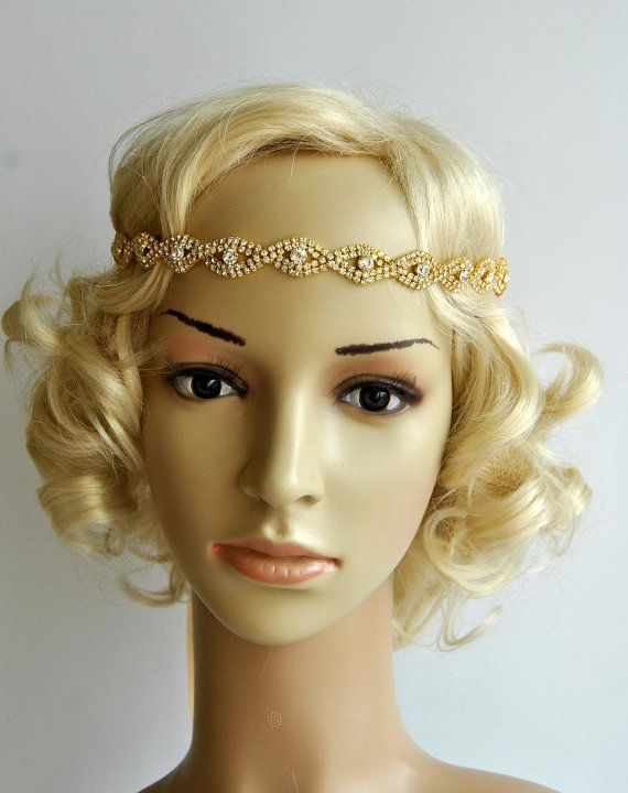 Gold Rhinestone Headband Great Gatsby Headband by BlueSkyHorizons