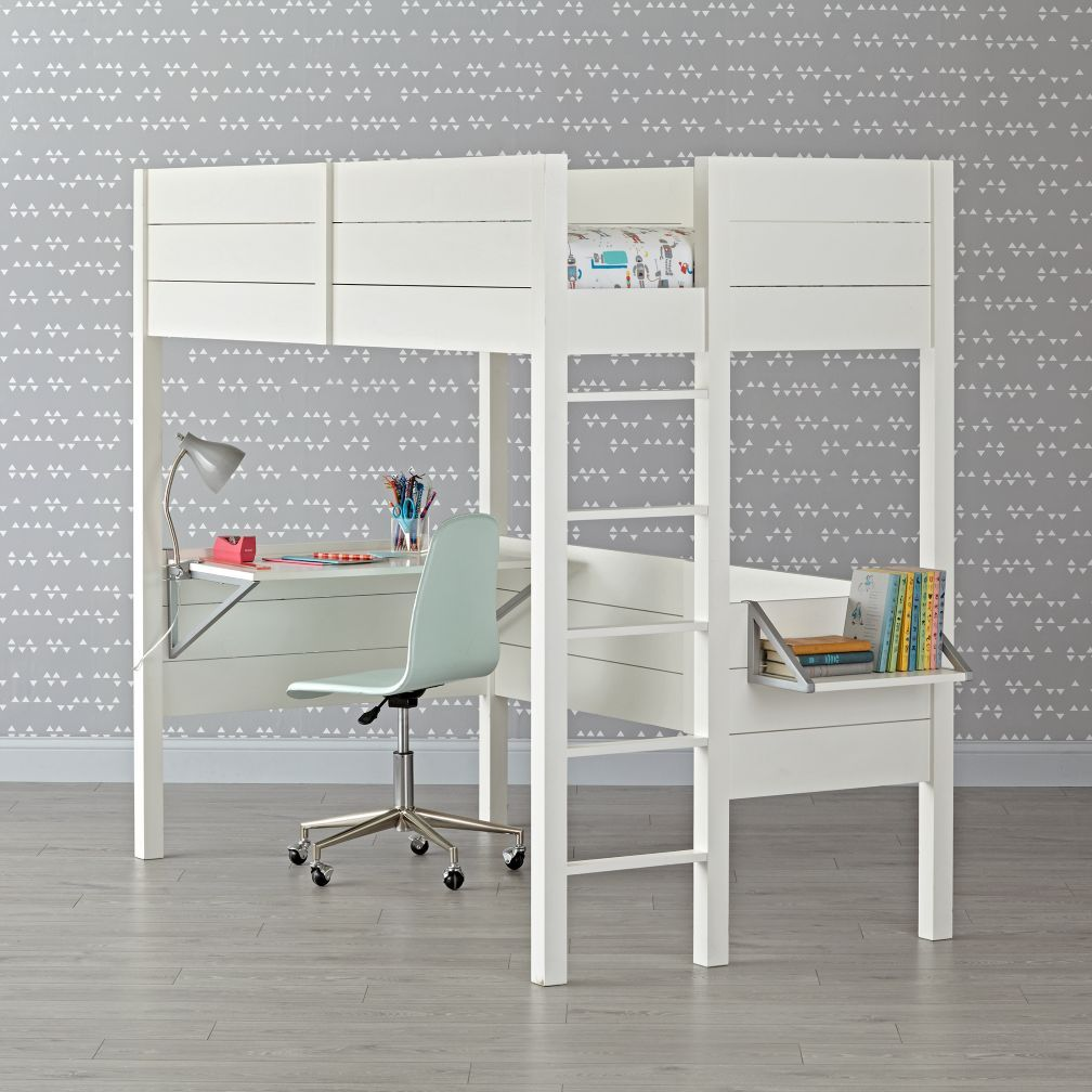 Under loft bed storage ideas  Shop Uptown White Loft Bed A smart choice for smaller bedrooms and
