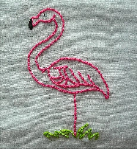 Pink flamingo embroidery flamingos and
