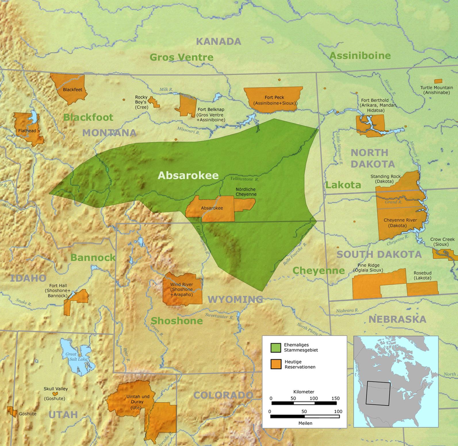 Carte des territoires Crows. Ancienne zone tribale en vert