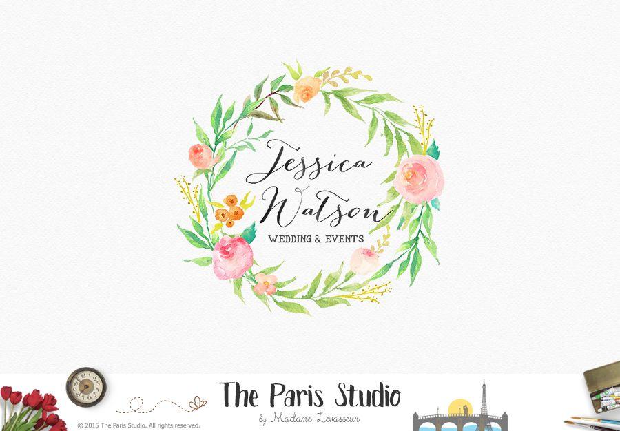 Floral Wreath Logo Design - website logo, blog logo, boutique logo, creative business branding or small business logo.