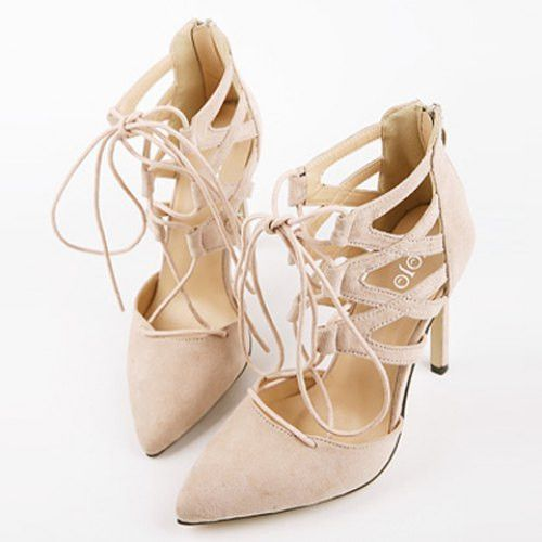 Sexy Suede and Lace-Up Design Women's Pumps