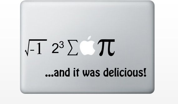 Apple pie equation macbook decal laptop sticker mac decal humor funny vinyl