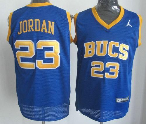 Bulls  23 Michael Jordan Blue Laney Bucs High School Stitched NBA Jersey ac0d2caf9e0c