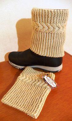fe5c09c0a0b83 Boots Cuffs - Cobre bota mini polaina com fio de lã de ótima qualidade com  motivo