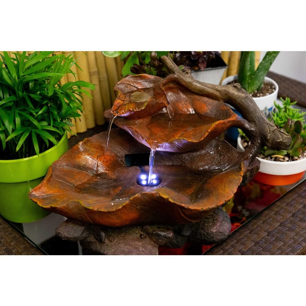 Alpine Tabletop Leaf Fountain With White Led Lights Win622 The Home Depot Tabletop Fountain Water Fountains Outdoor Indoor Water Fountains