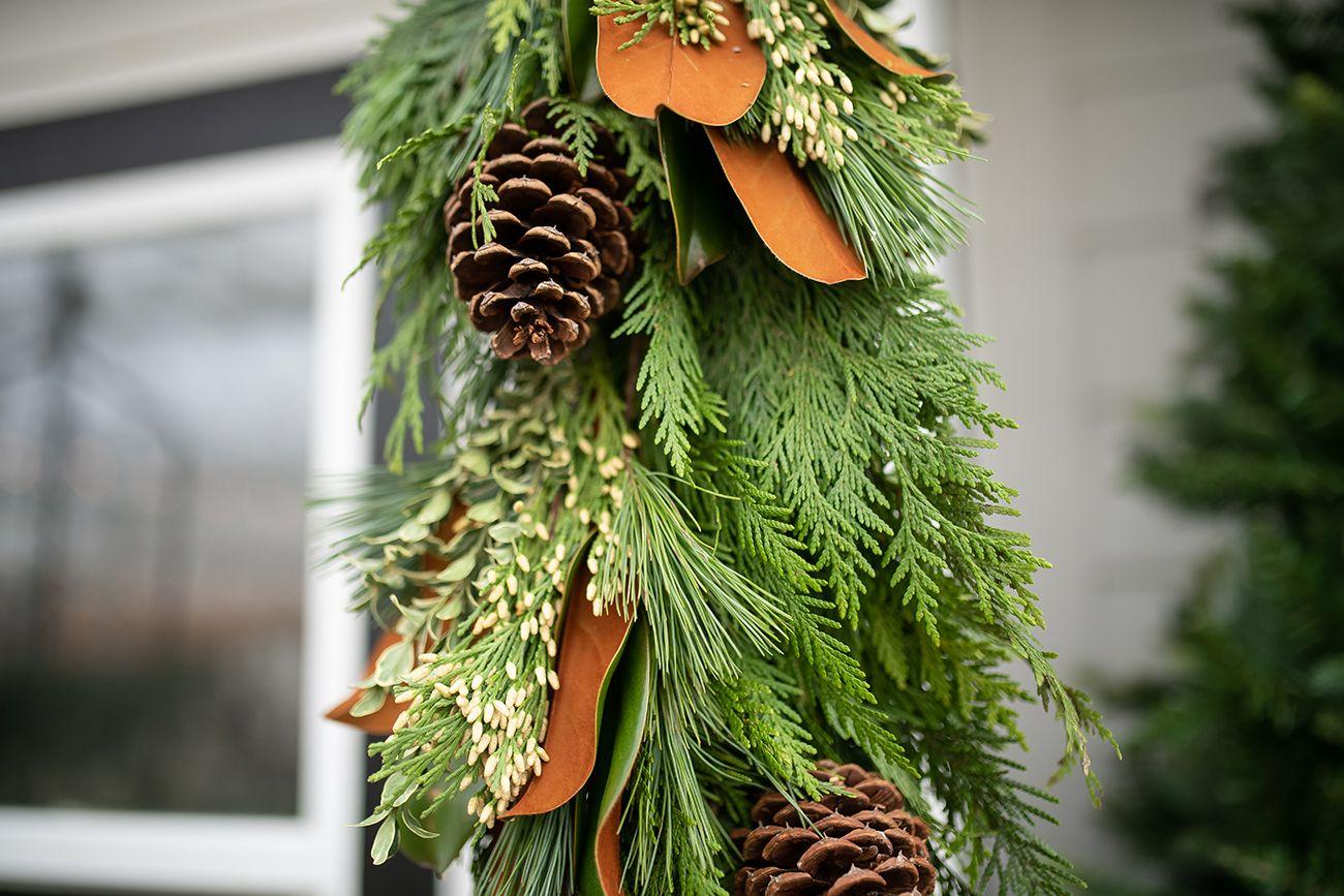 Photo of Magnolia y Moss Swag de puerta de invierno | Casa + Consejos para el hogar | Jardines de la costa oeste