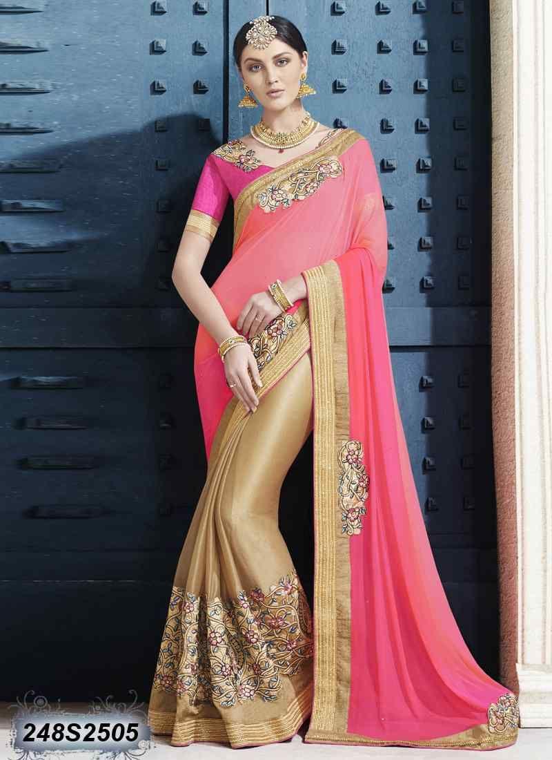 Peach color saree for wedding dynamic beige coloured lycra net embroidered saree  wedding saree