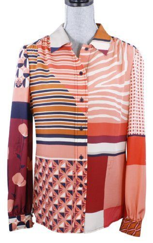 af928a0b4fb58 Tory Burch Angelique Blouse Tamarind Collage Silk Signature Top Tory Burch.   274.99